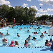 The grand opening of the Borderland Co-op Aquaplex was held on Canada Day in Moosomin. There was free swimming and a barbecue, and kids got to use some of the new features at the pool