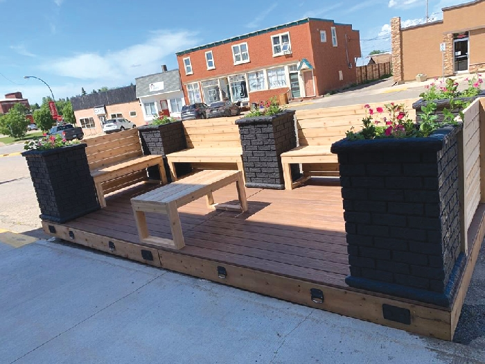 The Esterhazy Economic Development Committee has set up a public parklet on Main Street for the community to enjoy the warm weather.