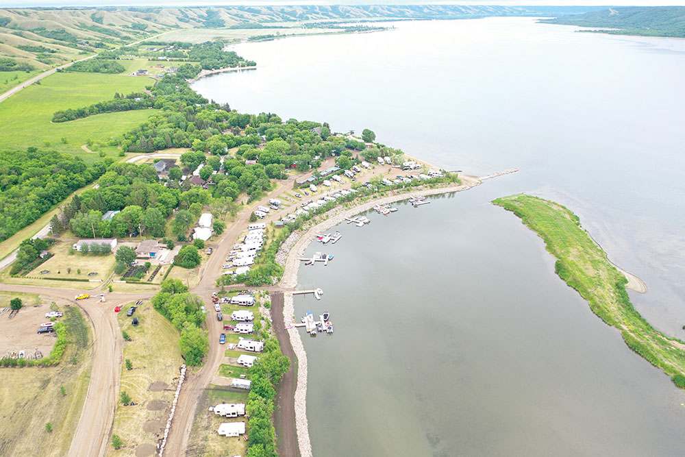 An aerial view of the marina leading to the lake.